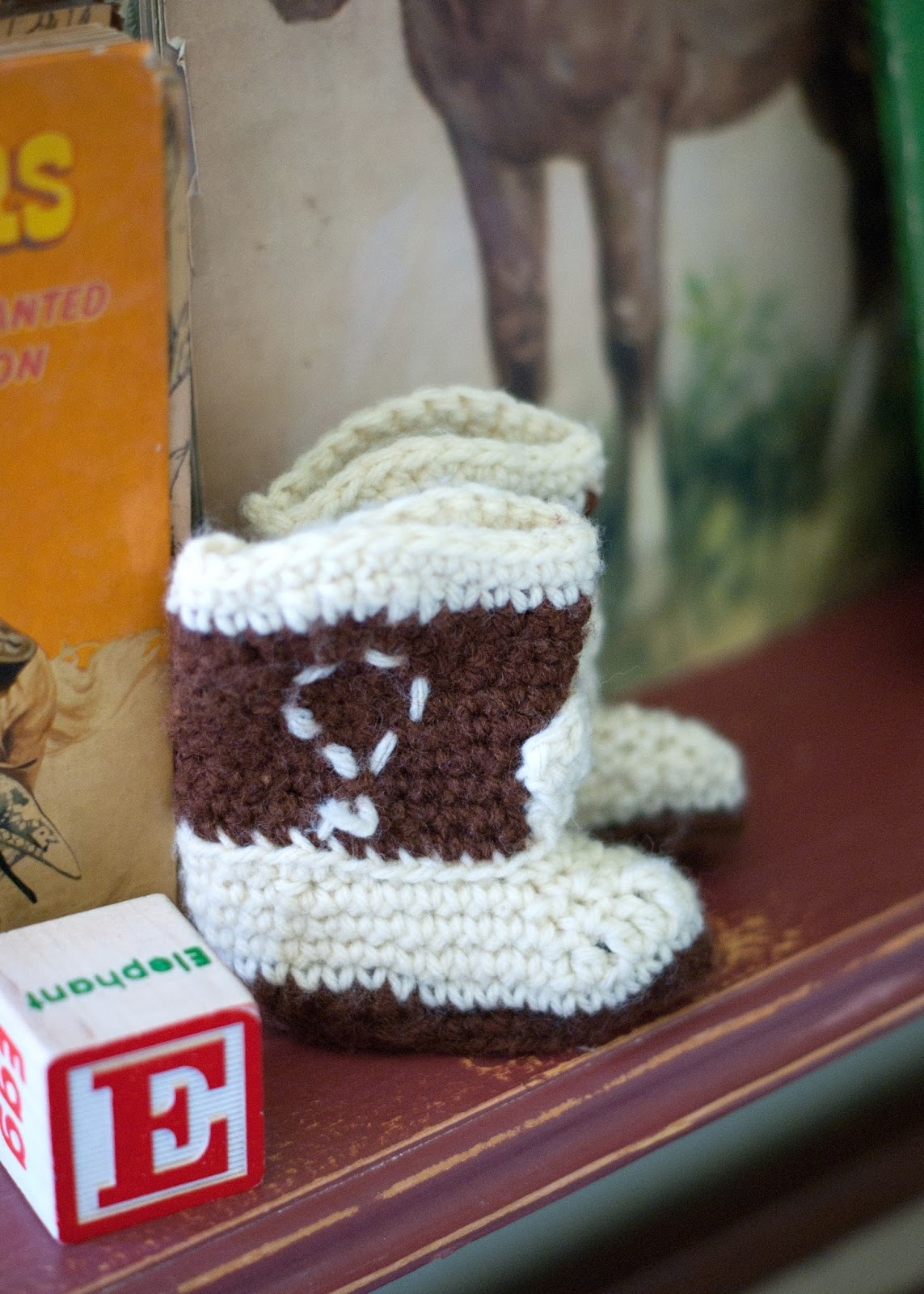 Baby block  and vintage crochet western boots