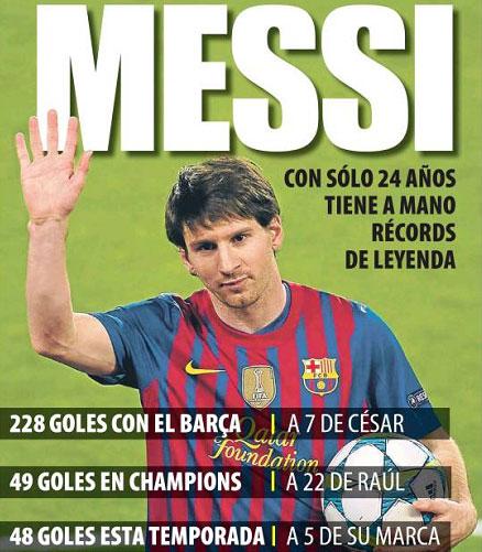 5 goles de Messi en un partido de Champions