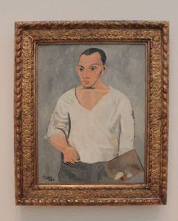 "Photograph of Picasso's painting ""Self Portrait, 1906"" exhibit at AIC."