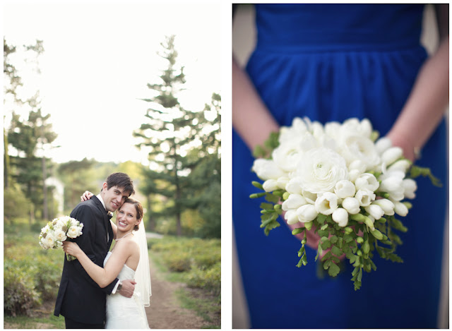 Nicole Haley photography sweet pea floral design metro detroit wedding florist modern wedding florist blue bridesmaids dress for Metro Detroit southeast michigan wedding simple elegant white bouquet composed of freesia for University of Michigan Museum of art UMMA wedding