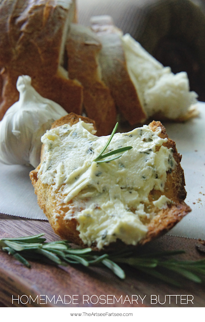 Homemade rosemary and garlic butter. Makes the BEST garlic bread