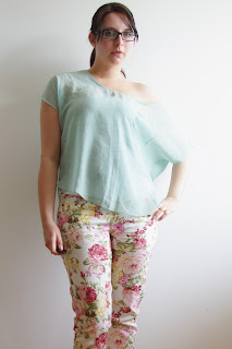 [Fashion] The Floral Pants! Mint Chiffon Top, Jeans Jacket / Beige Leather Jacket / Mint Coat