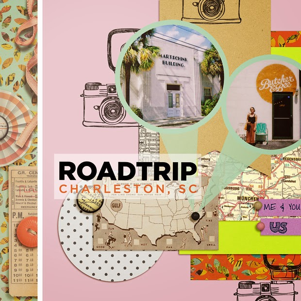 Roadtrip // Scrapbook Layout // 12x12 // Template Set #143 by Cindy Schneider
