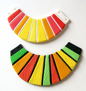 Bright neon polymer clay bib necklaces tribal, pink and orange hues