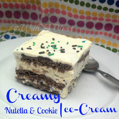 With A Blast: Creamy Nutella & Cookie Ice-Cream   #icecream #nutella #layered #dessert #moirs