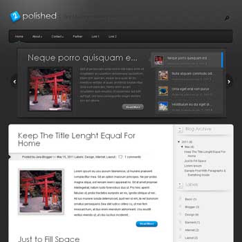Polished blog template. template image slider blog. magazine blogger template style. wordpress them to blogger template