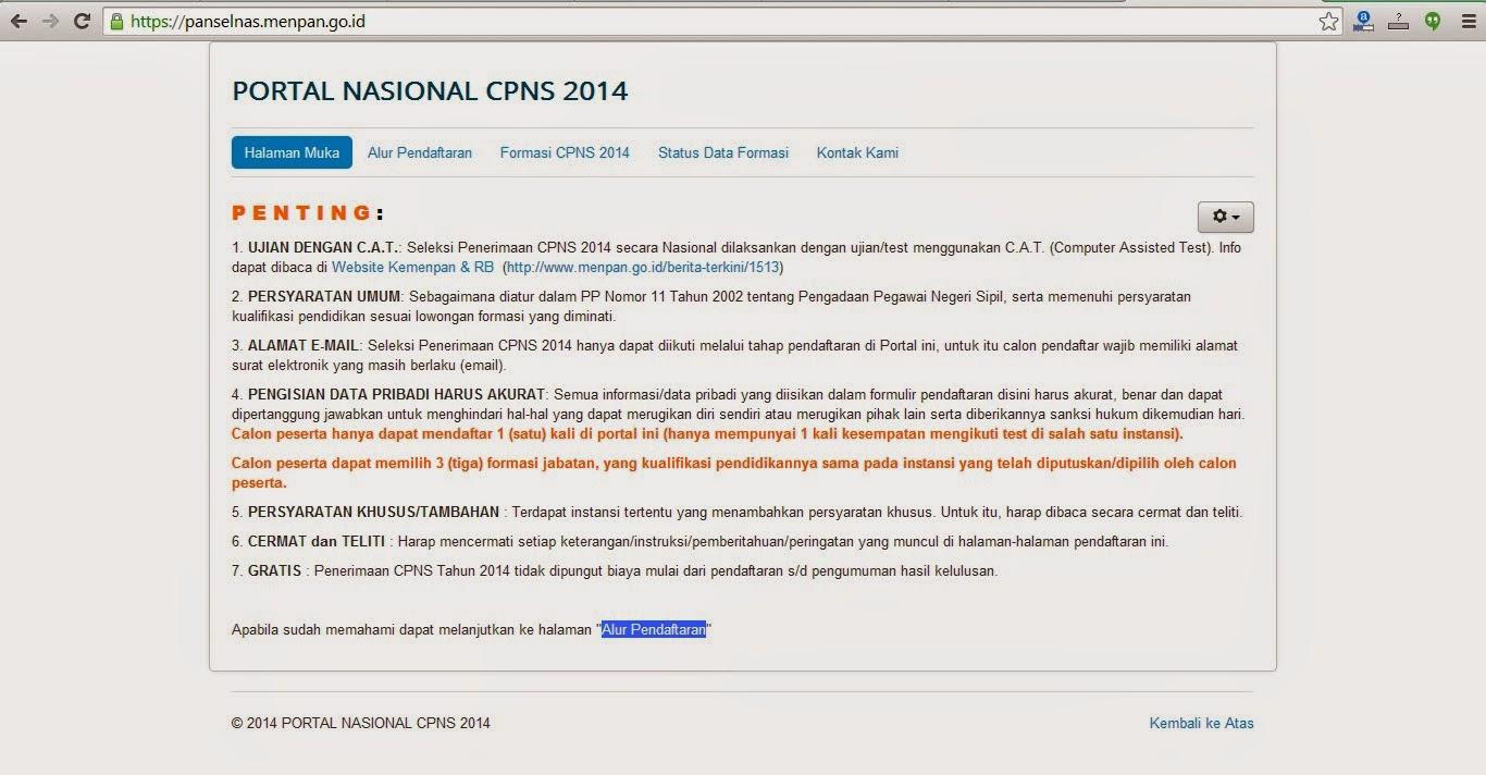 Pendaftaran CPNS 2014 Online