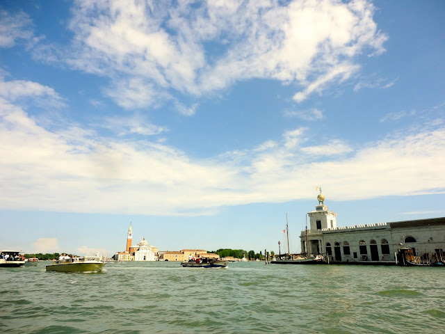 Looking out to the Venetian Lagoon from a gondola, Venice, Italy