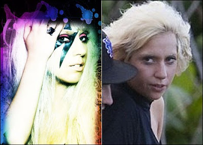 lady gaga without makeup and wig pictures