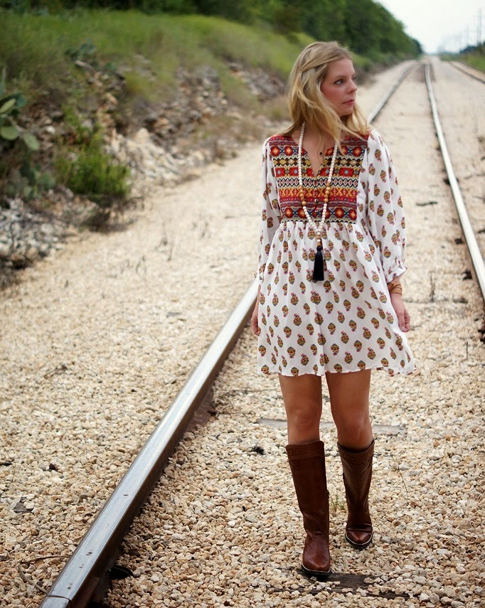 Umgee Printed Shift Dress with Ariat Cowgirl Boots