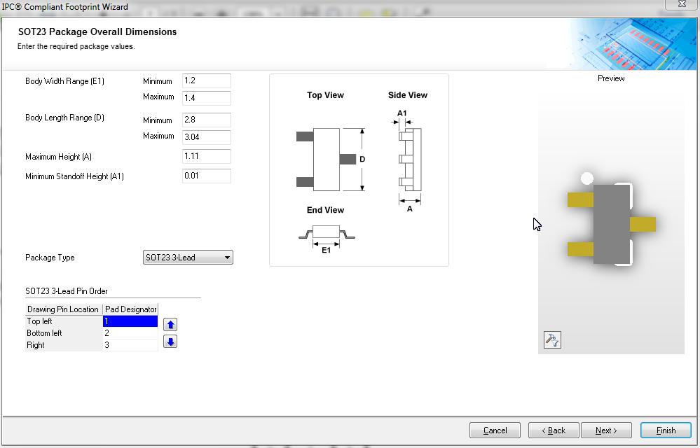 SOT-23 IPC Complaint Wizard in Altium designer