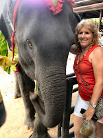 Gena with her arm around an elephant