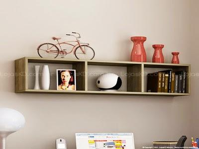 estante de livros com nichos flutuante suspensa na parede