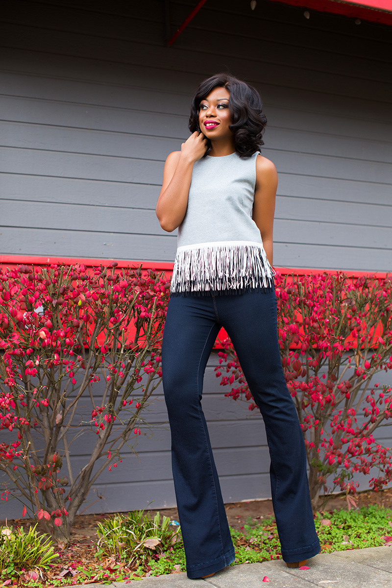 JCrew fringe top and jbrand  flare jeans on www.jadore-fashion.com