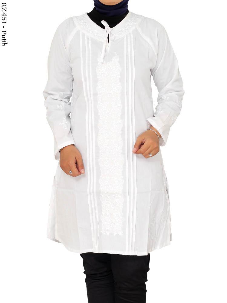 Rz451 blus bordir riz busana muslim murah terbaru toko Baju gamis putih murah