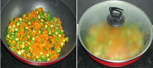 add the bhindi and cook covered