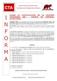 SOBRE LA CONTINUACIÓN DE LA REUNIÓN ORDINARIA DEL COMITÉ DE EMPRESA, 25/05/2018