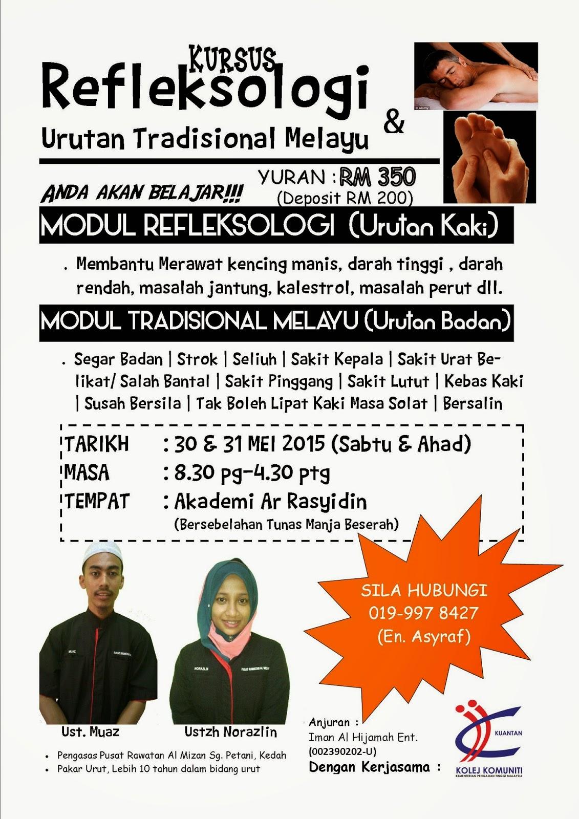 Kursus Refleksologi & Urutan Tradisional Melayu di Kuantan
