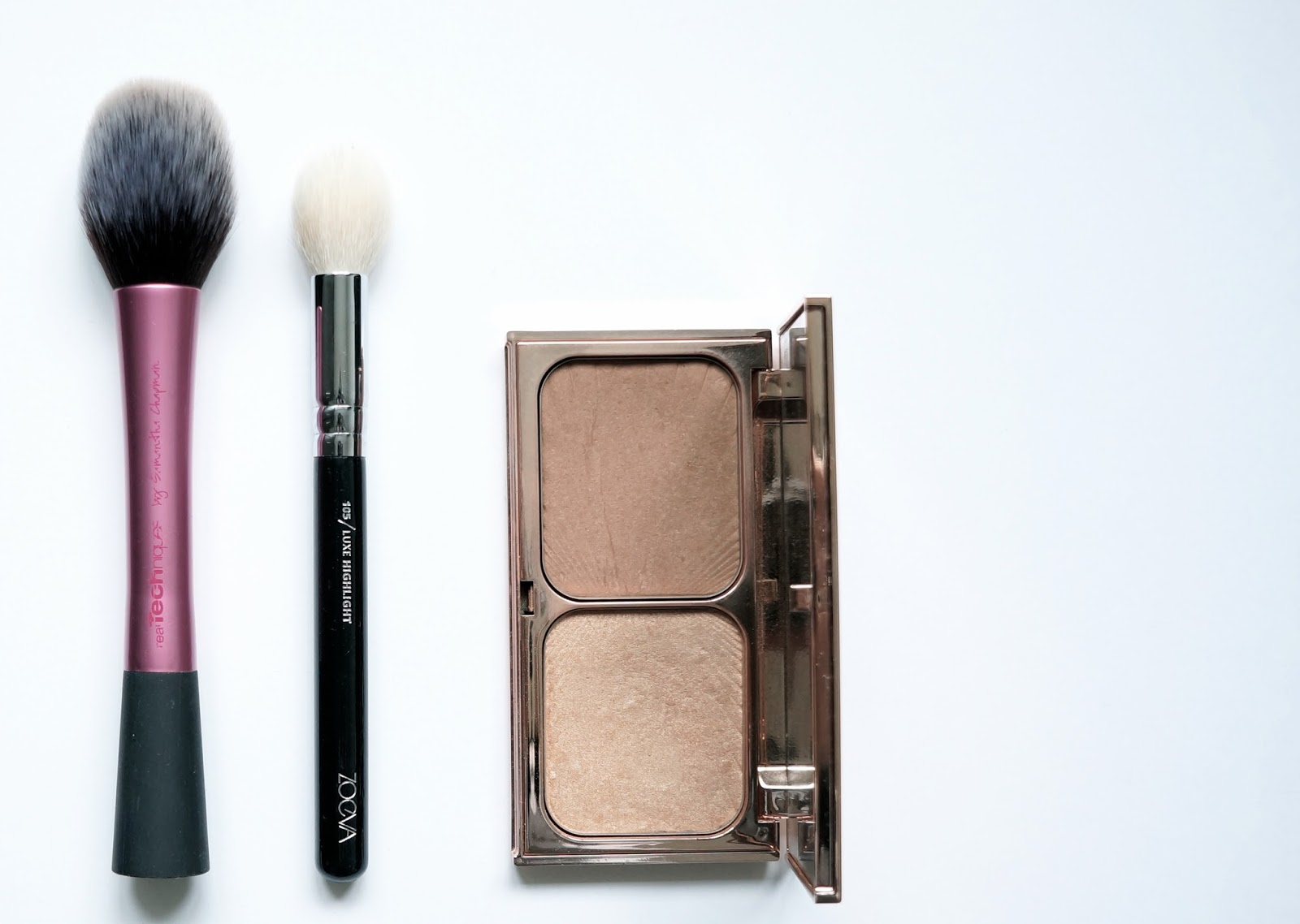 Mes Pinceaux maquillages Makeup Brushes Real Techniques Blush brush Zoeva Luxe Highlighter brush Charlotte Tilbury Filmstar Bronze & Glow palette Lexie Blush