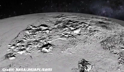 Flying Over Pluto's Icy Mountain and Plains