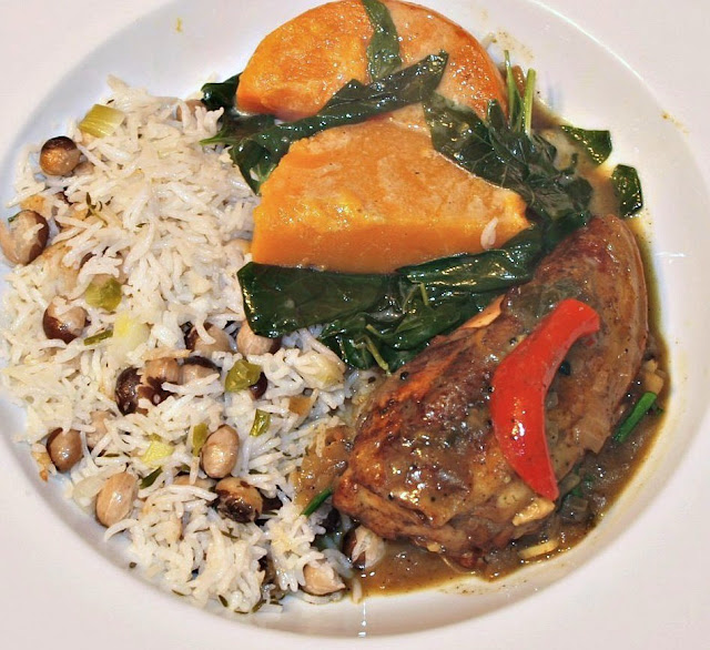 mark's veg plot jamaican chicken with rice and peas