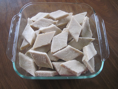 Kaju Burfi is made of cashew nuts, sugar and little ghee