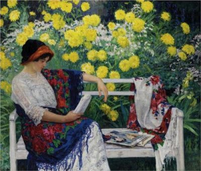 Nicolay Bogdanov-Belsky. Reading in the Garden, 1915