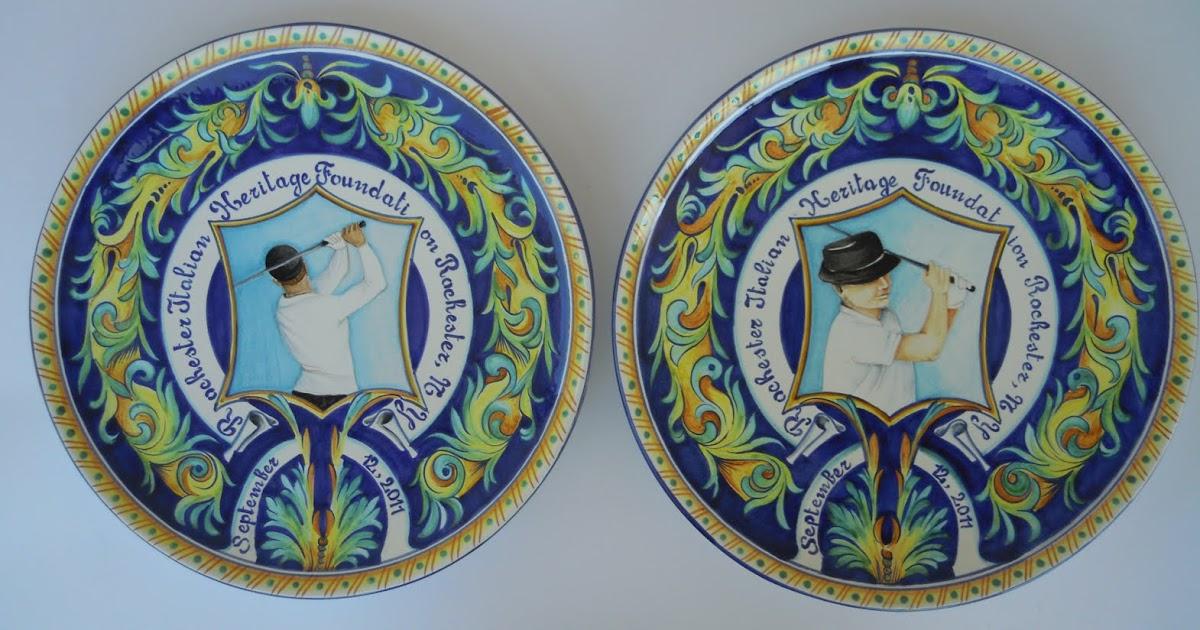 Ceramica come mestiere piatti decorativi raffiguranti giocatori di golf con dedica - Piatti decorativi ...