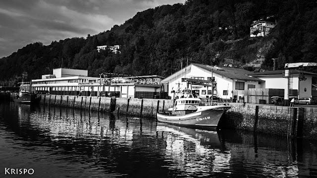 puerto pesquero de hondarribia en blanco y negro