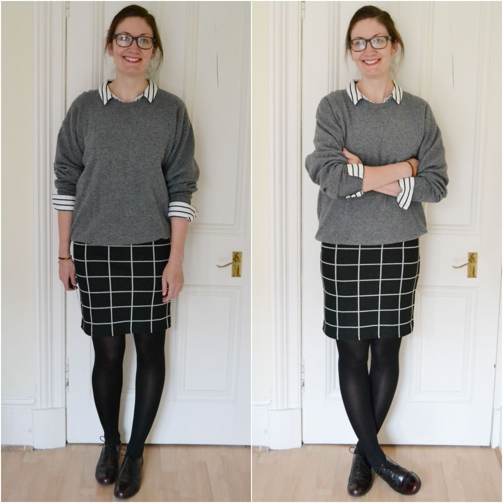 check skirt sweater shirt layers long tall sally autumn collection 2015