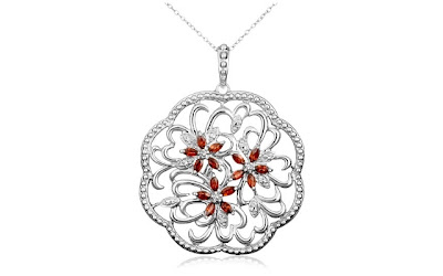 A Blog of Goodies: 72% off Platinum Plated Garnet & Diamond Flowers Pendant Necklace + Free Shipping