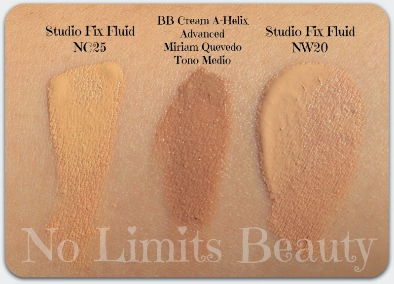 BB Cream Miriam Quevedo - Studio Fix Fluid MAC NC25 y NW20 - swatches