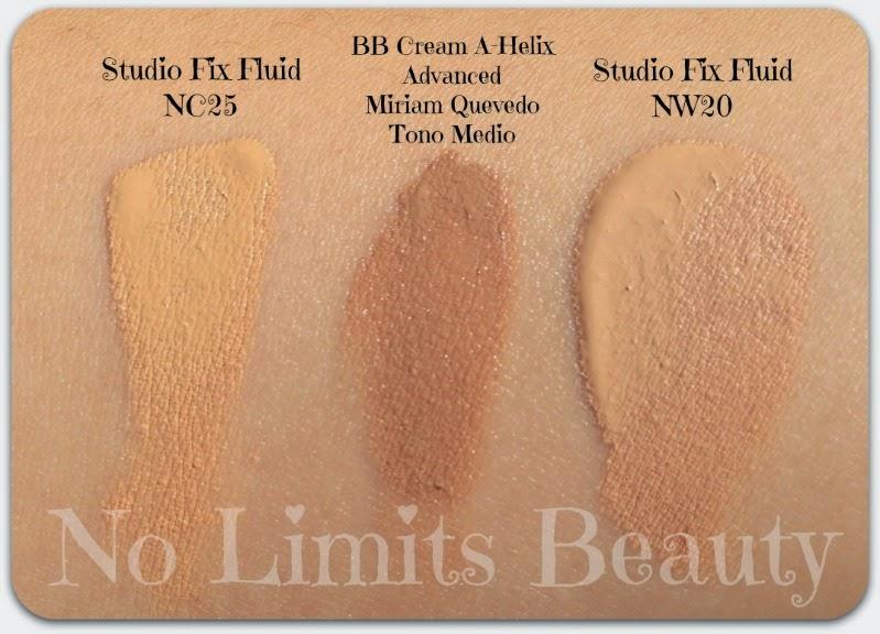 BB Cream Miriam Quevedo - Studio Fix Fluid MAC NC25 y NW20 - swatches