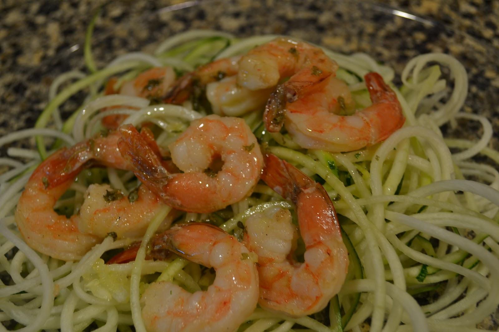shrimp scampi with zucchini pasta 10 15 shrimp per person