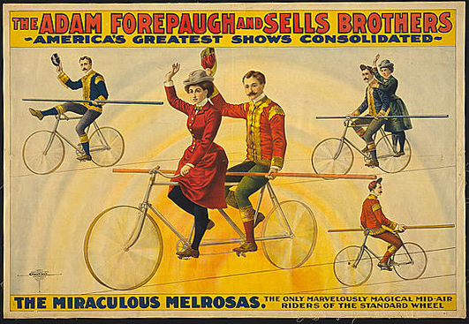 circus, classic posters, free download, graphic design, retro prints, vintage, vintage posters, The Adam Forepaugh and Sells Brothers, The Miraculous Melrosas - Vintage Circus Poster