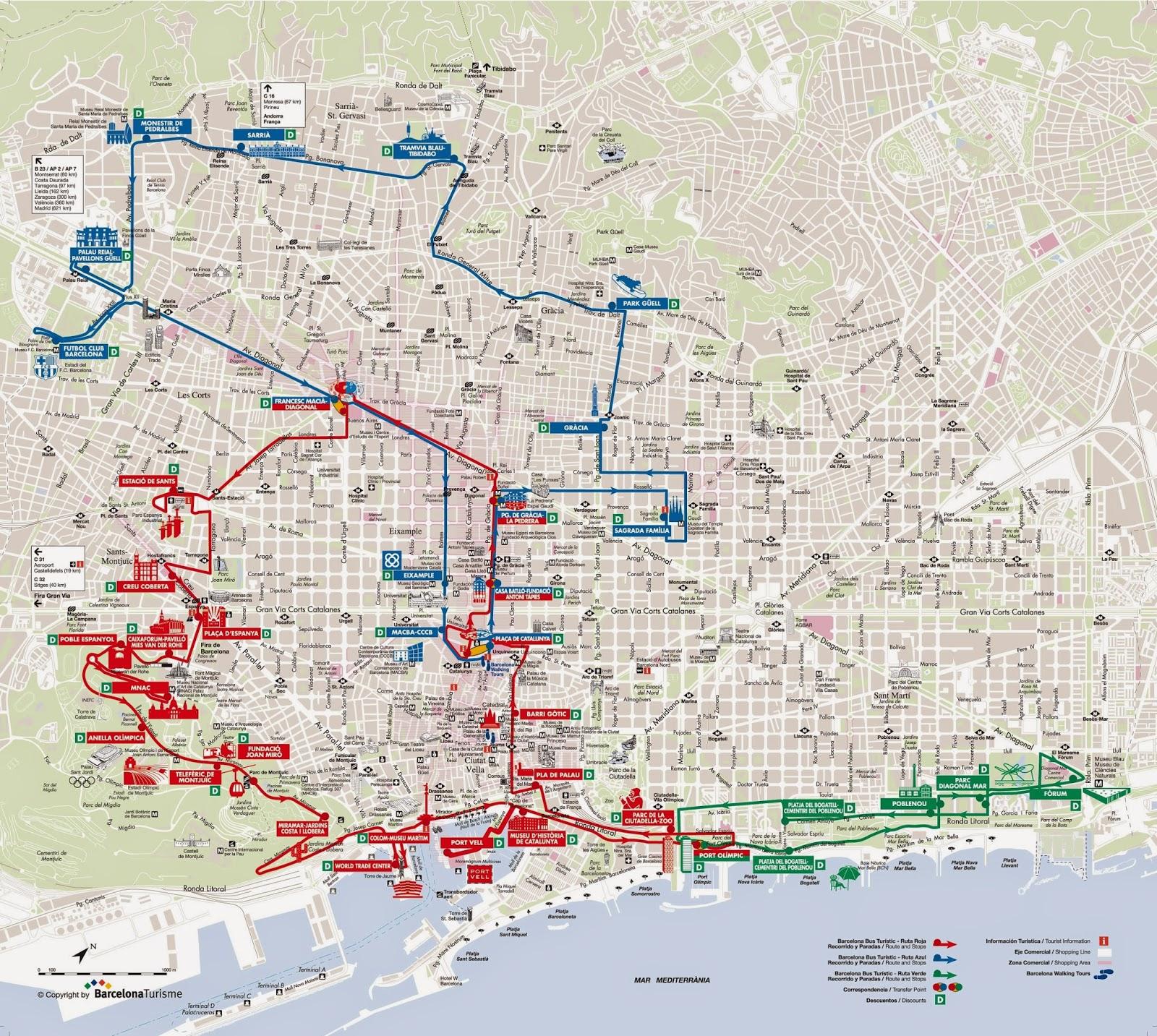 Маршрут движения туристических автобусов в Барселоне.