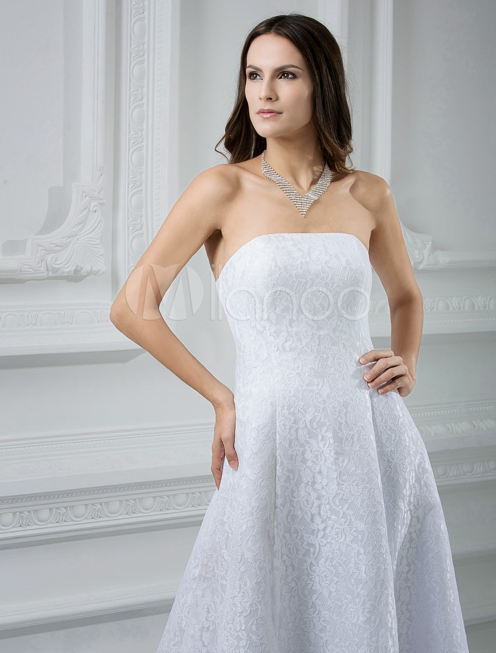 China Wholesale Dresses - Beautiful White A-line Strapless Satin Wedding Dress