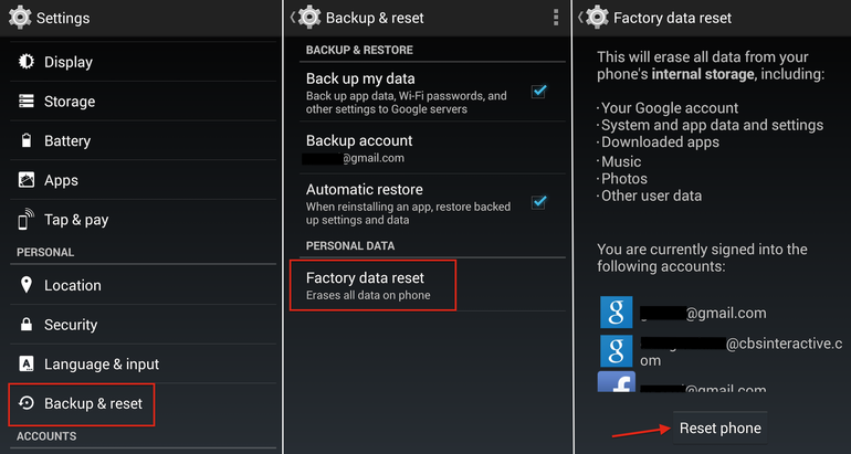 Hard Reset  LG Optimus L7 P705 using menu