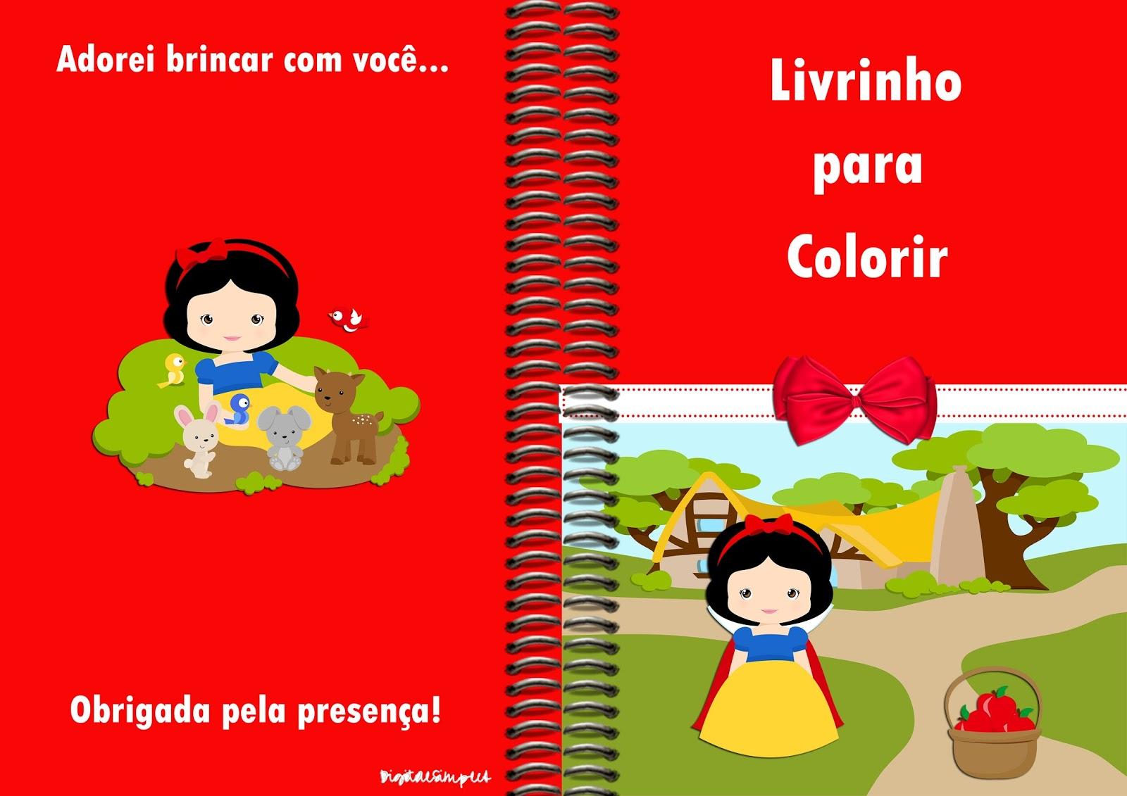 Livrinho para Colorir Branca de Neve Cute