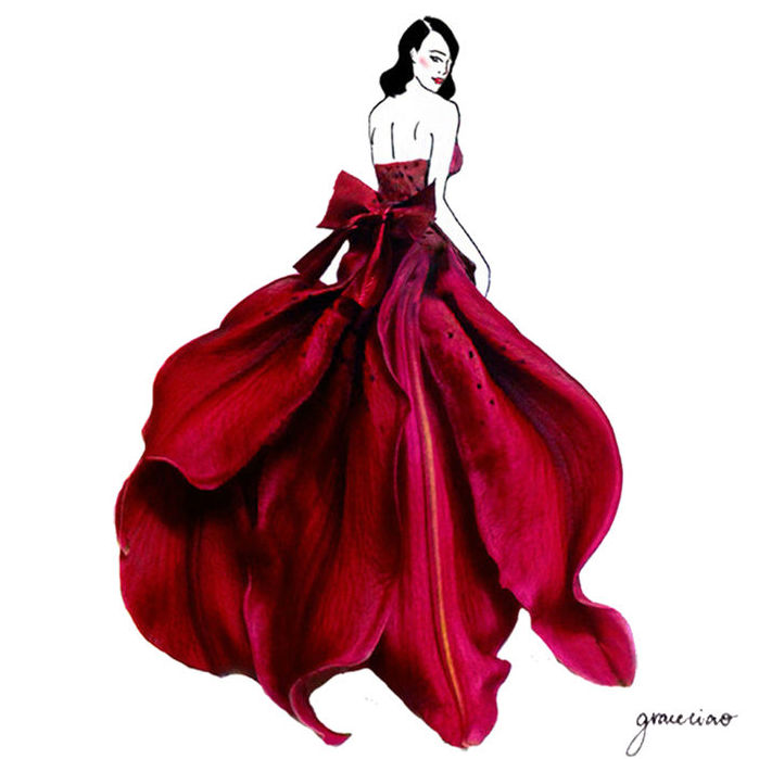 Grace Ciao flower petal fashion illustration