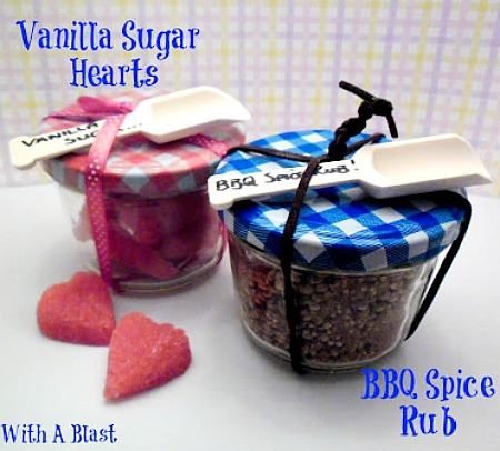 Vanilla Sugar & BBQ Spice Rub ~ The perfect DIY edible gifts for him and her {great to give to the host and hostess at a dinner party!} #ChristmasGifts #DIYGifts www.withablast.net
