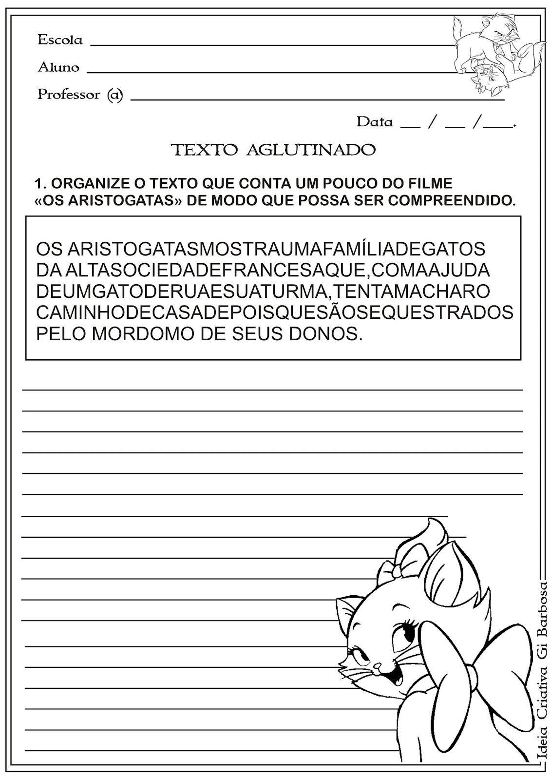 Texto Aglutinado - Filme OS Aristogatas