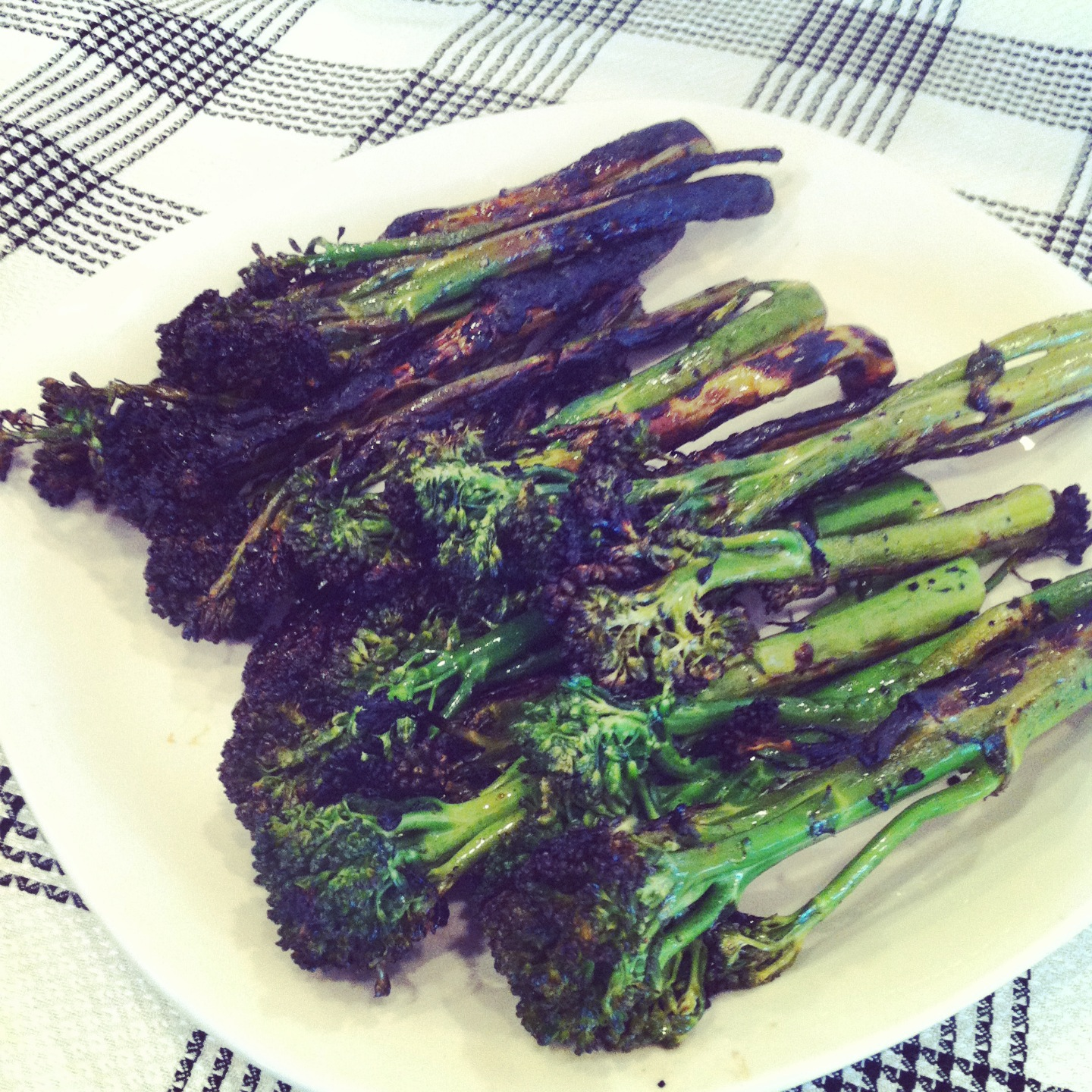 Paleo Grilled Broccolini Two Ways - Plaid & Paleo