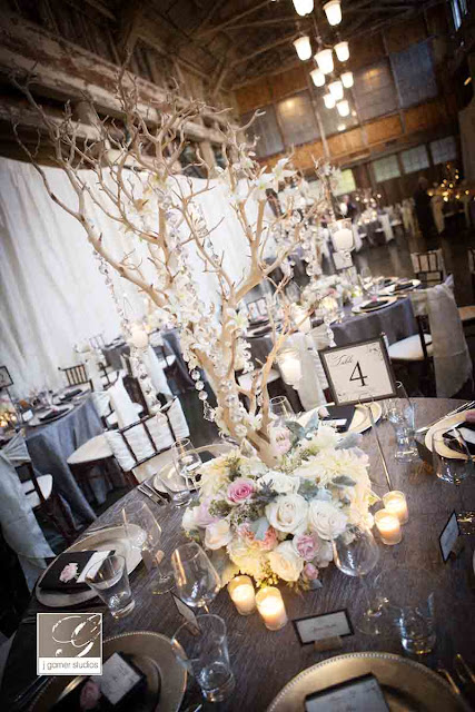 blooming trees with crystal strands, blush wedding flowers, Sodo Park wedding, Flora Nova Design