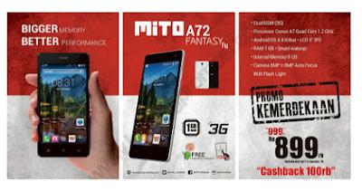 harga baru Mito Fantasy Fly A72, harga bekas Mito Fantasy Fly A72, hp lollipop murah, hp lolilipop 1 juta,