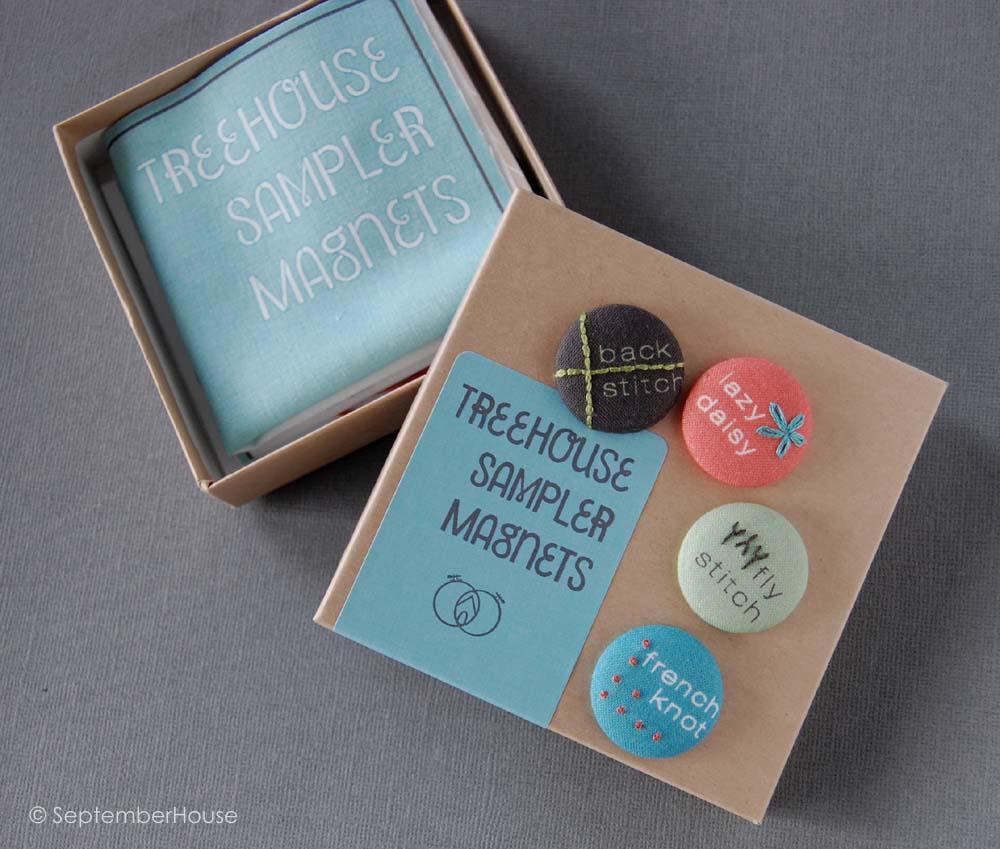 hand embroidery kit sampler magnets set from septemberhouse