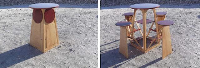 Diseño de mesa con bancos plegables de madera
