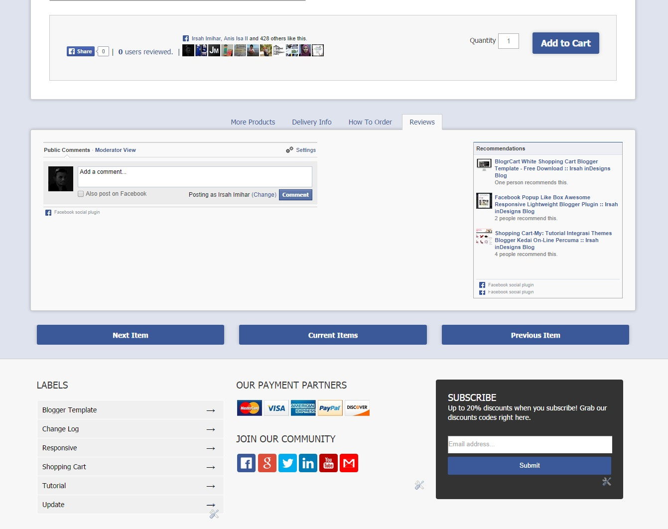Facebook Comments & Plugins Comes Pre-Installed With Template