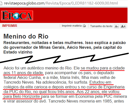 Aécio Neves Garoto do RIo
