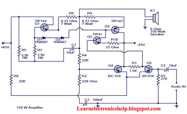 150 Watt amplifier circuit diagram